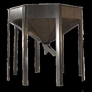 Hopper for storage of prepared pellets.